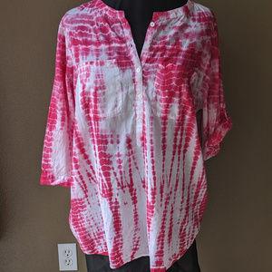 Indigo Pink Tiedye summer shirt sz 2x roll slv